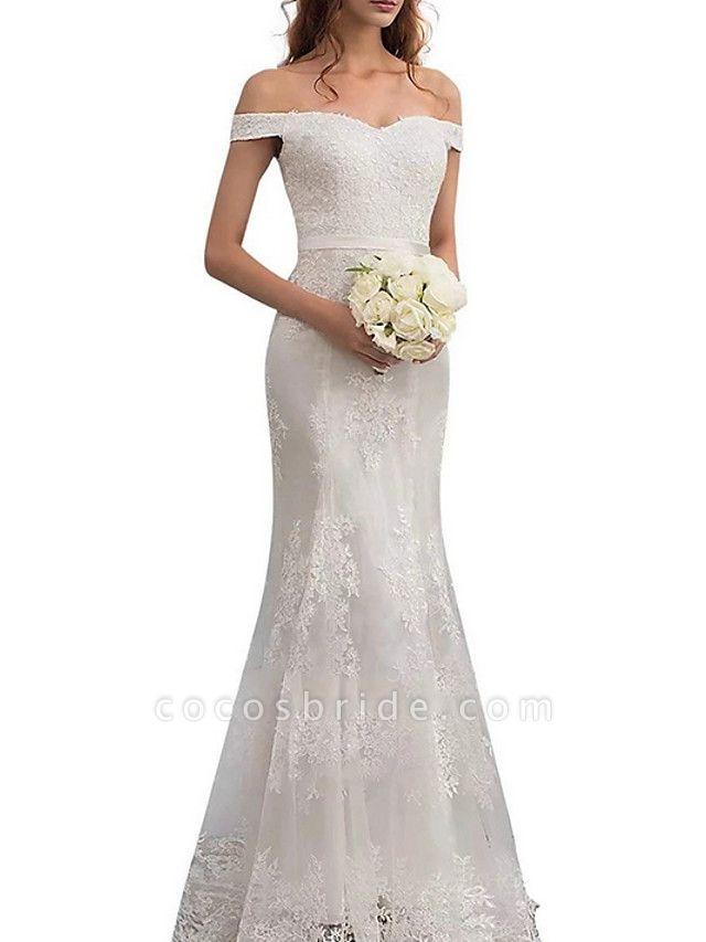 Sheath \ Column Wedding Dresses Off Shoulder Floor Length Lace Regular Straps Romantic Illusion Detail