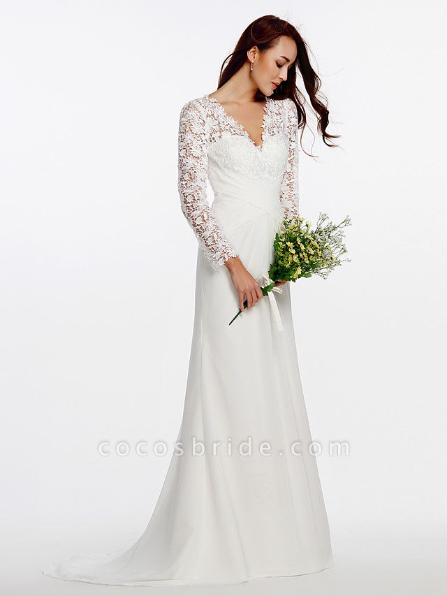 Sheath \ Column Wedding Dresses V Neck Sweep \ Brush Train Chiffon Floral Lace Long Sleeve Romantic Boho Little White Dress Illusion Sleeve