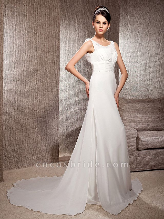 Sheath \ Column Scoop Neck Court Train Chiffon Sleeveless Wedding Dresses