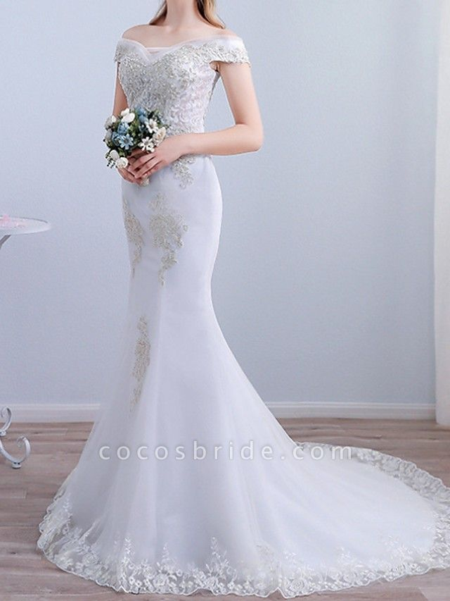 Mermaid \ Trumpet Wedding Dresses Off Shoulder Sweep \ Brush Train Tulle Short Sleeve Beach