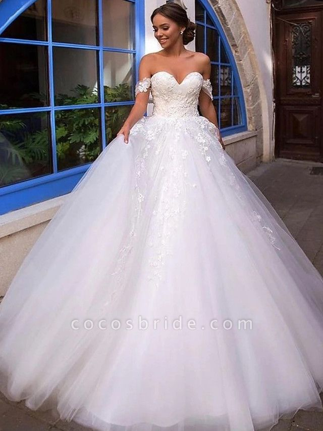 Ball Gown Off Shoulder Court Train Lace Tulle Short Sleeve Country Romantic Illusion Detail Backless Wedding Dresses