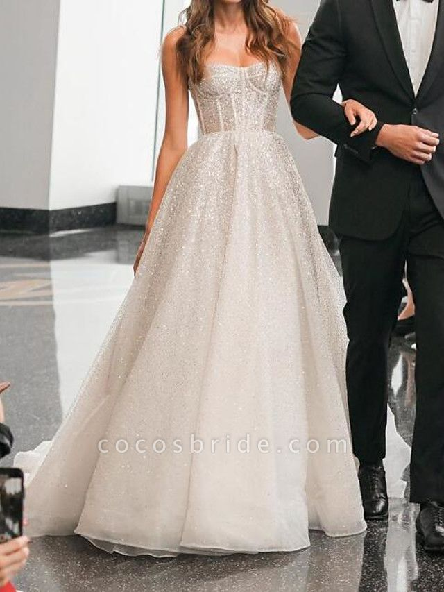 A-Line Spaghetti Strap Sweep \ Brush Train Polyester Sleeveless Country Plus Size Wedding Dresses