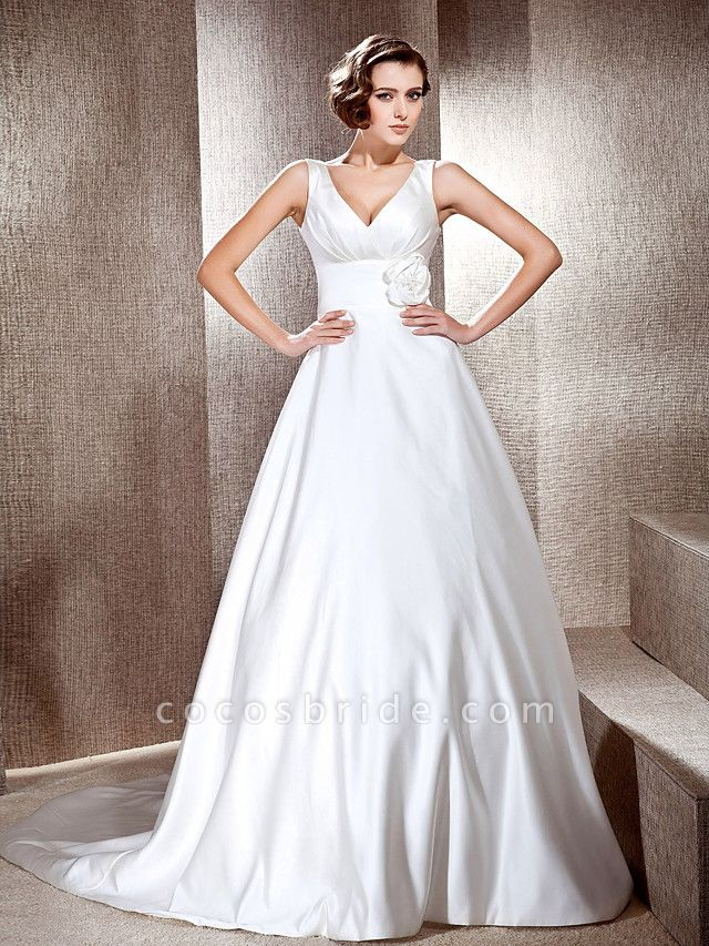 Princess A-Line Wedding Dresses V Neck Cathedral Train Satin Sleeveless