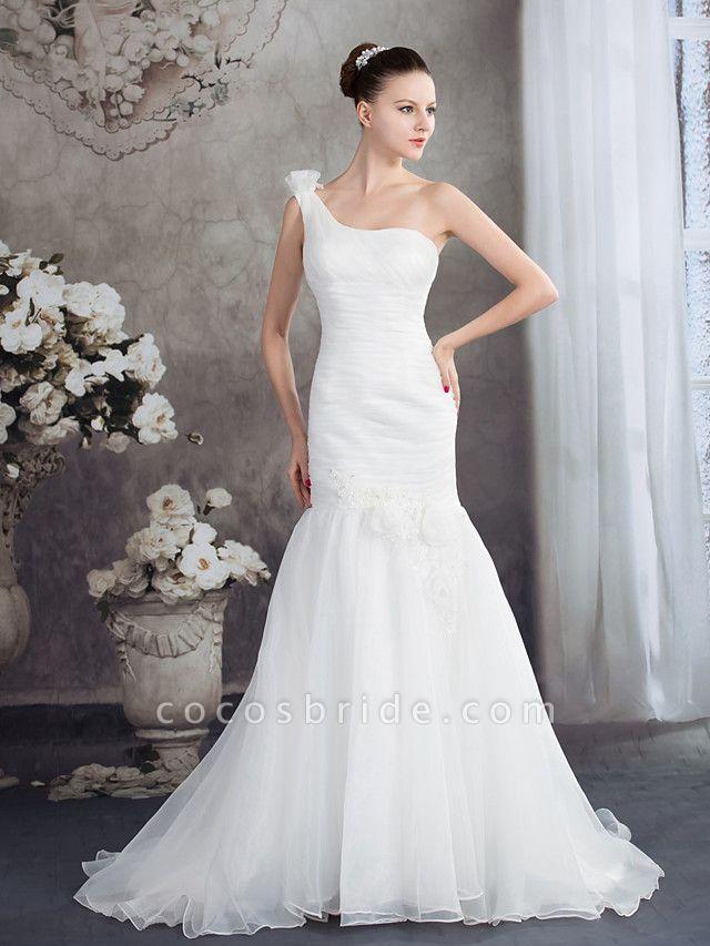 Mermaid \ Trumpet One Shoulder Court Train Organza Spaghetti Strap Wedding Dresses
