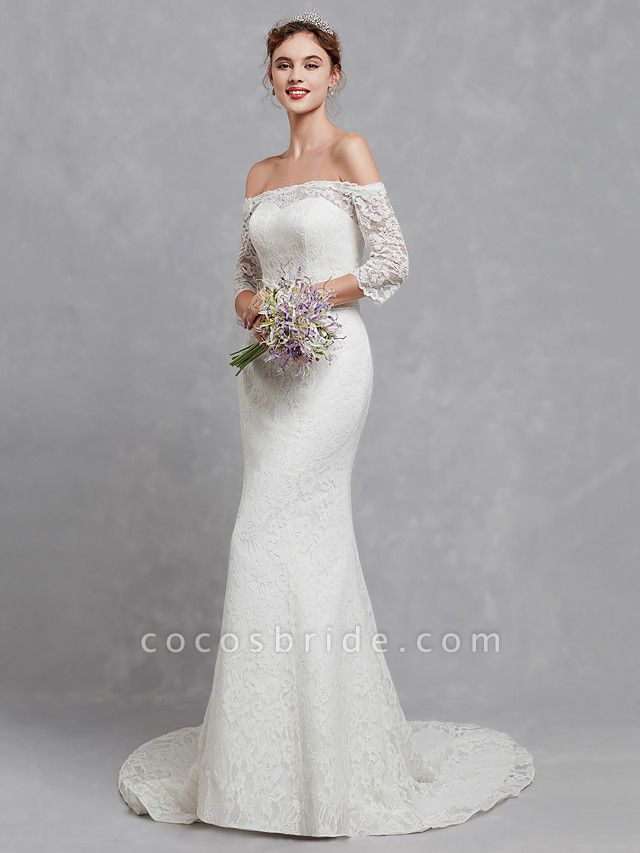 Mermaid \ Trumpet Wedding Dresses Off Shoulder Court Train Lace 3\4 Length Sleeve Cutouts