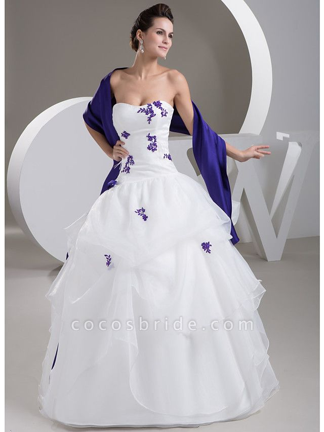 Ball Gown Strapless Floor Length Lace Organza Satin Strapless Casual Vintage Plus Size Wedding Dresses