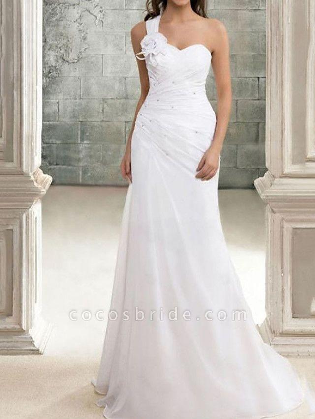 Mermaid \ Trumpet Wedding Dresses One Shoulder Sweep \ Brush Train Chiffon Sleeveless Simple