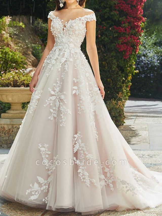 A-Line Wedding Dresses V Neck Chapel Train Lace Tulle Sleeveless Sexy Wedding Dress in Color See-Through