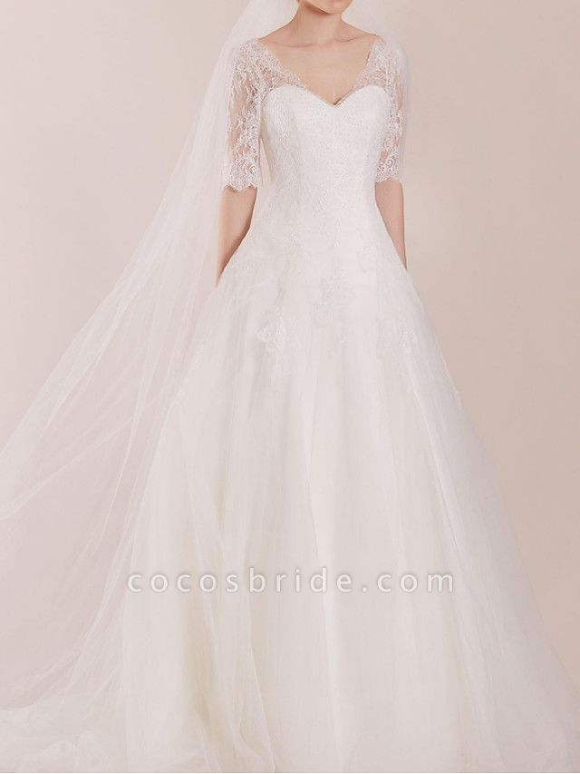 A-Line Wedding Dresses Sweetheart Neckline Sweep \ Brush Train Polyester Half Sleeve Country Plus Size Illusion Sleeve