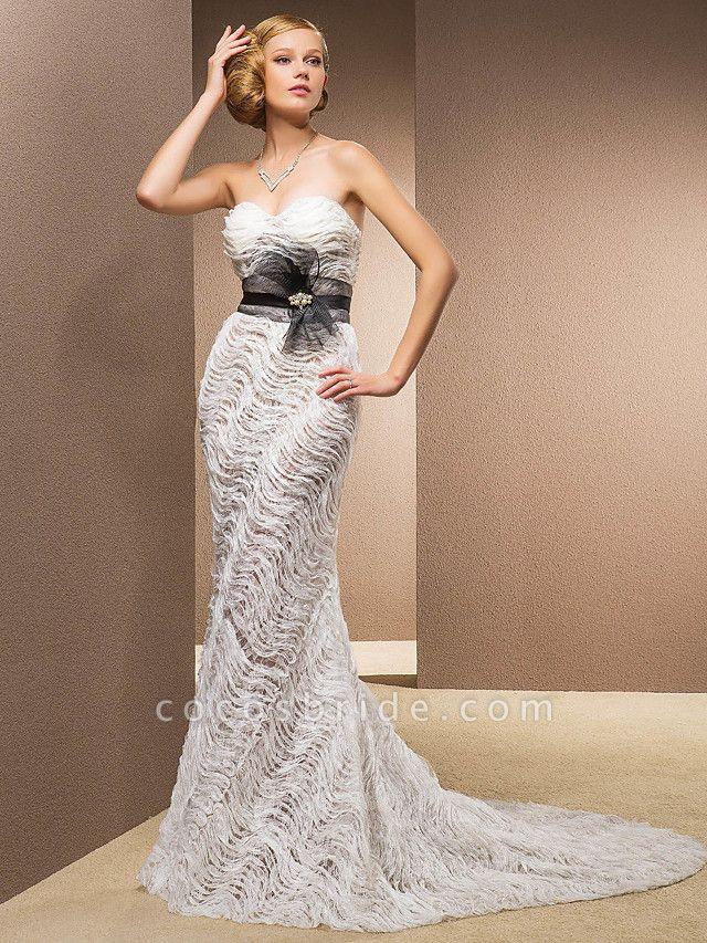 Mermaid \ Trumpet Sweetheart Neckline Court Train Lace Satin Tulle Sleeveless Wedding Dress in Color Wedding Dresses
