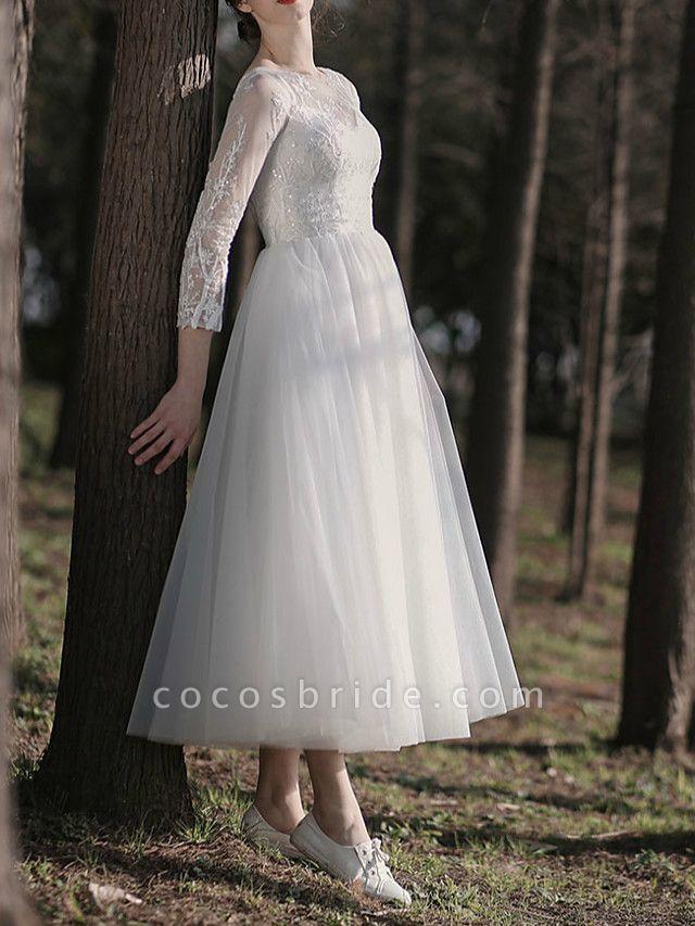A-Line Wedding Dresses Jewel Neck Ankle Length Lace Tulle Long Sleeve Simple Little White Dress Elegant Illusion Sleeve