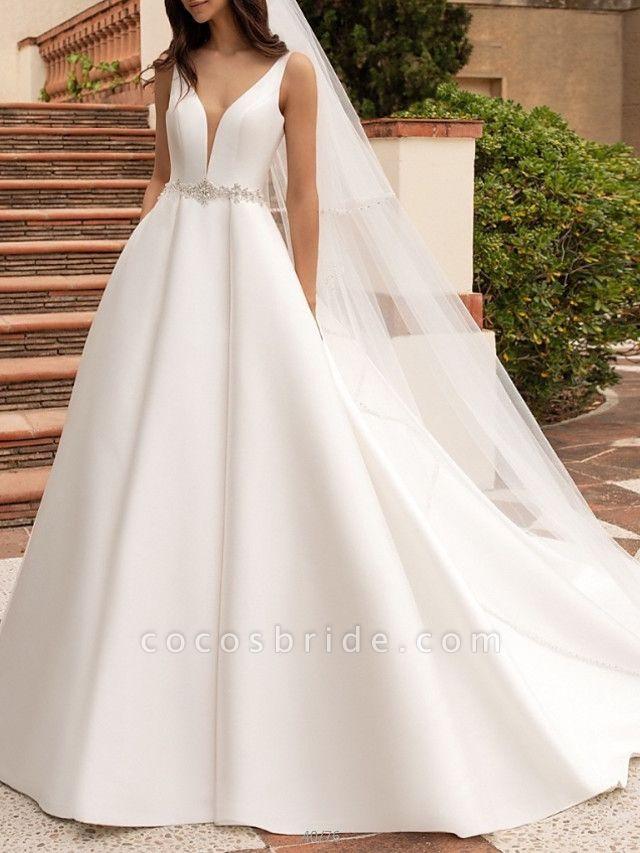 A-Line Wedding Dresses V Neck Court Train Satin Spaghetti Strap Simple Sparkle & Shine Backless