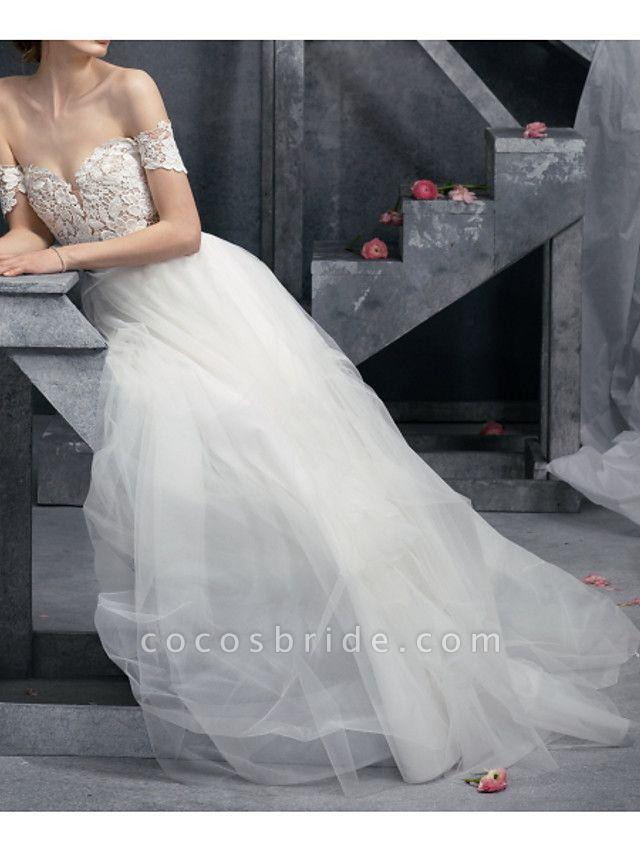 A-Line Wedding Dresses Off Shoulder Sweep \ Brush Train Polyester Short Sleeve Formal Plus Size