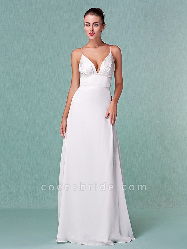 Sheath \ Column Wedding Dresses V Neck Floor Length Chiffon Spaghetti Strap Sexy Backless