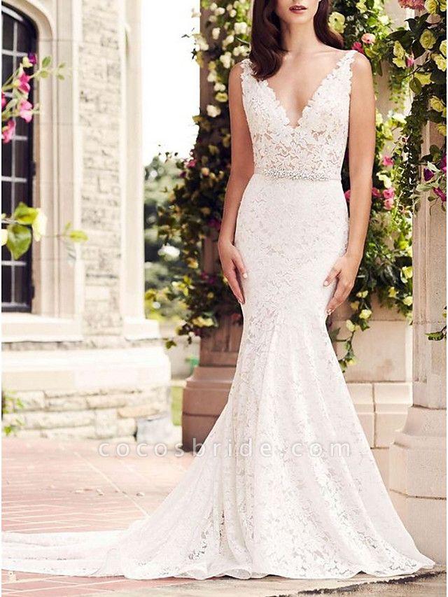 Mermaid \ Trumpet Wedding Dresses V Neck Court Train Lace Regular Straps