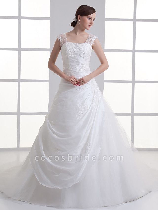 A-Line Square Neck Court Train Taffeta Tulle Regular Straps Wedding Dresses