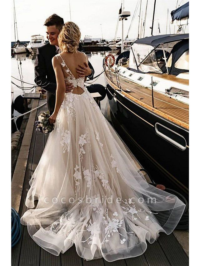 A-Line Wedding Dresses V Neck Court Train Tulle Spaghetti Strap Backless