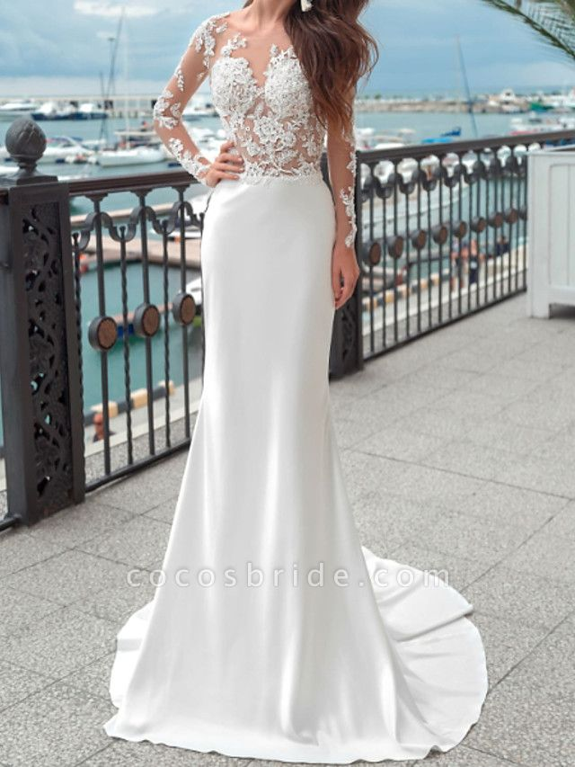 Mermaid \ Trumpet Wedding Dresses Jewel Neck Sweep \ Brush Train Lace Polyester Long Sleeve Country Plus Size
