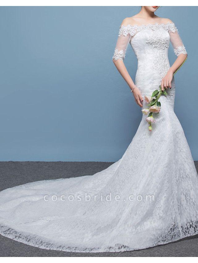 Mermaid \ Trumpet Wedding Dresses Off Shoulder Floor Length Lace Tulle Sleeveless Formal Plus Size