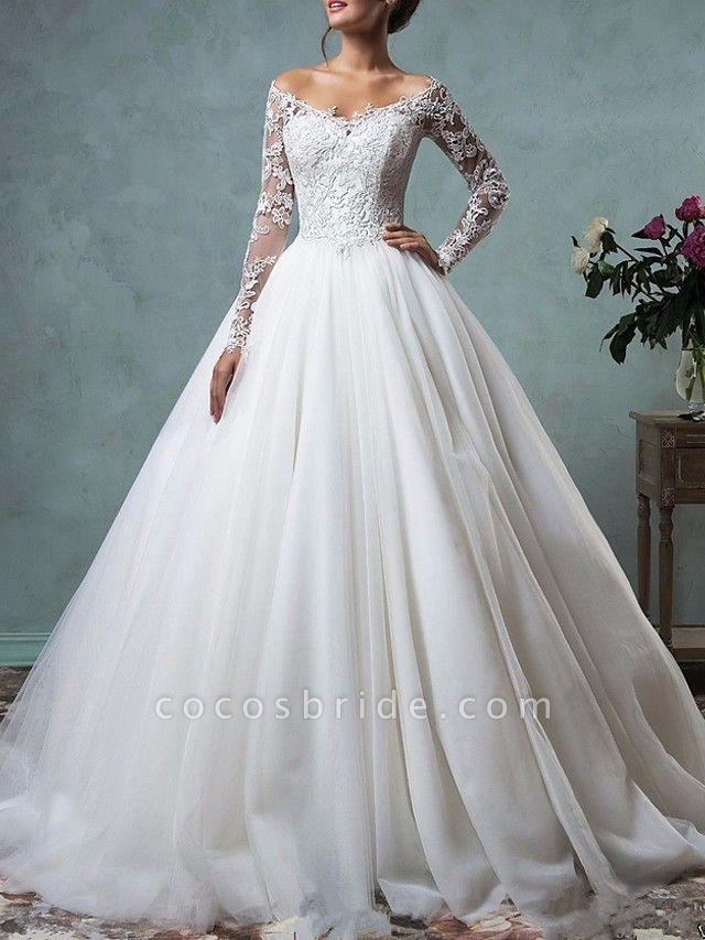 A-Line Wedding Dresses Off Shoulder Floor Length Tulle Long Sleeve Formal Plus Size