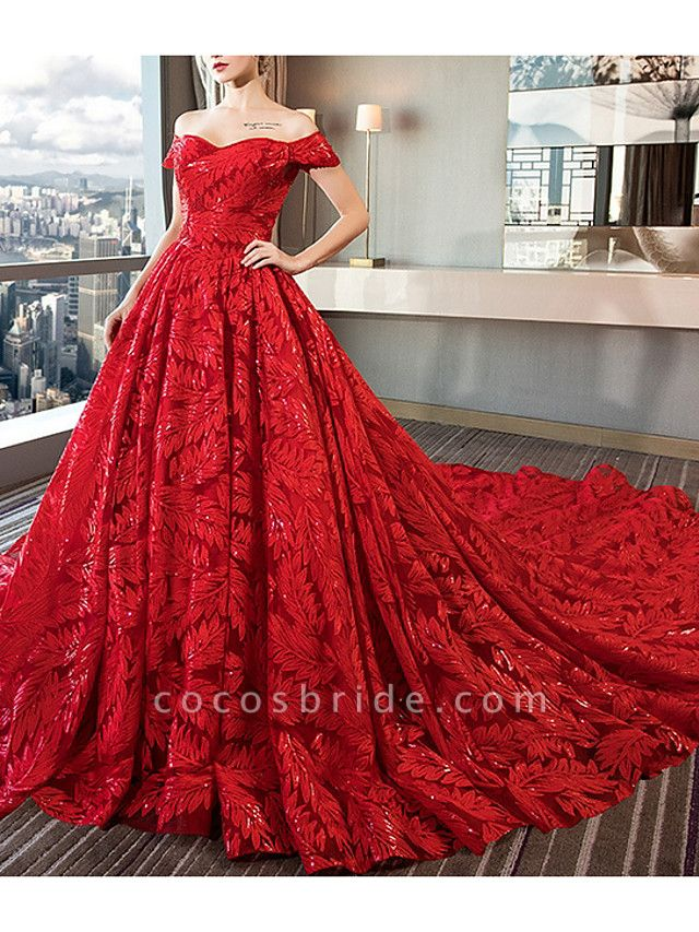 A-Line Off Shoulder Court Train Sequined Polyester Short Sleeve Romantic Plus Size Red Wedding Dresses