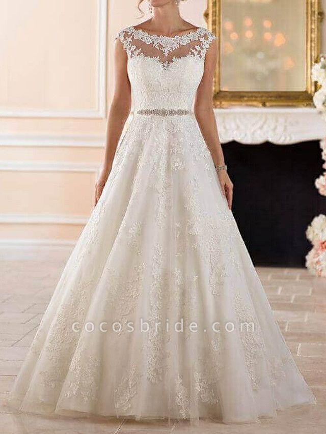 A-Line Wedding Dresses Bateau Neck Sweep \ Brush Train Lace Cap Sleeve Glamorous See-Through Illusion Detail