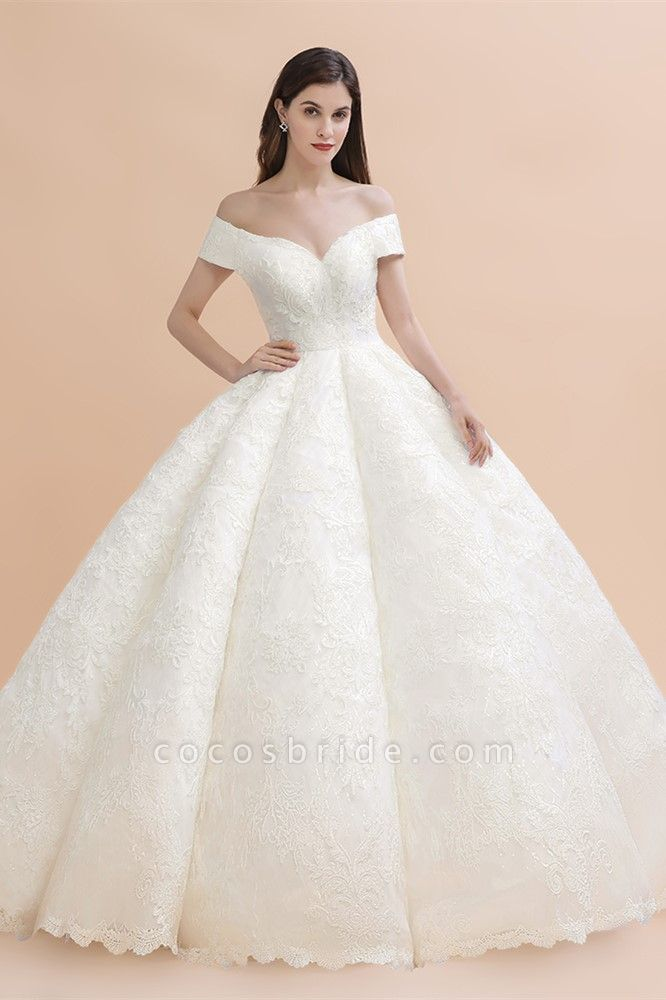 Elegant Off-the-shoulder Appliques Ball Gown Wedding Dresses