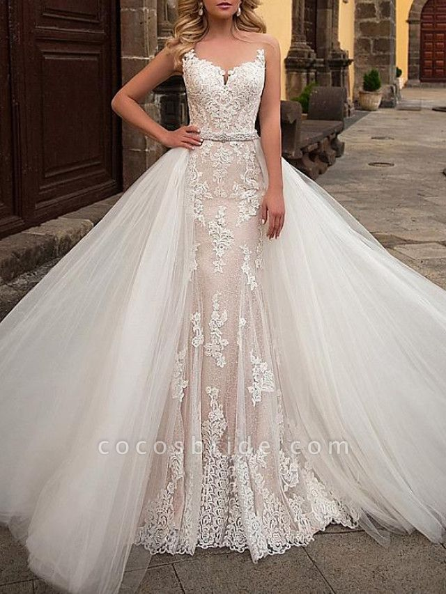Mermaid \ Trumpet Jewel Neck Sweep \ Brush Train Detachable Lace Tulle Chiffon Over Satin Sleeveless Formal Sexy See-Through Wedding Dresses