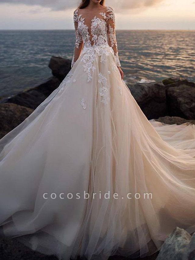 A-Line Wedding Dresses Bateau Neck Court Train Lace Tulle Long Sleeve Formal See-Through Illusion Sleeve