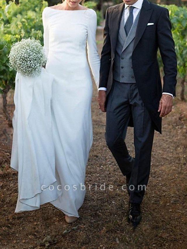 A-Line Wedding Dresses Off Shoulder Sweep \ Brush Train Satin Long Sleeve Formal Plus Size Elegant
