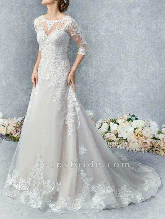 A-Line Wedding Dresses Jewel Neck Court Train Tulle 3\4 Length Sleeve Illusion Sleeve