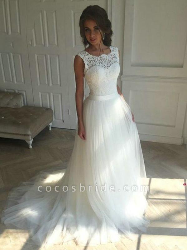 New Lace O-Neck Lace Tulle Boho Wedding Dresses