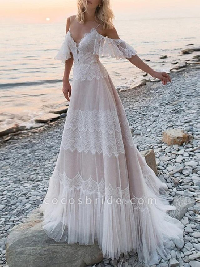 A-Line Wedding Dresses V Neck Spaghetti Strap Sweep \ Brush Train Lace Tulle Half Sleeve Beach Sexy Plus Size