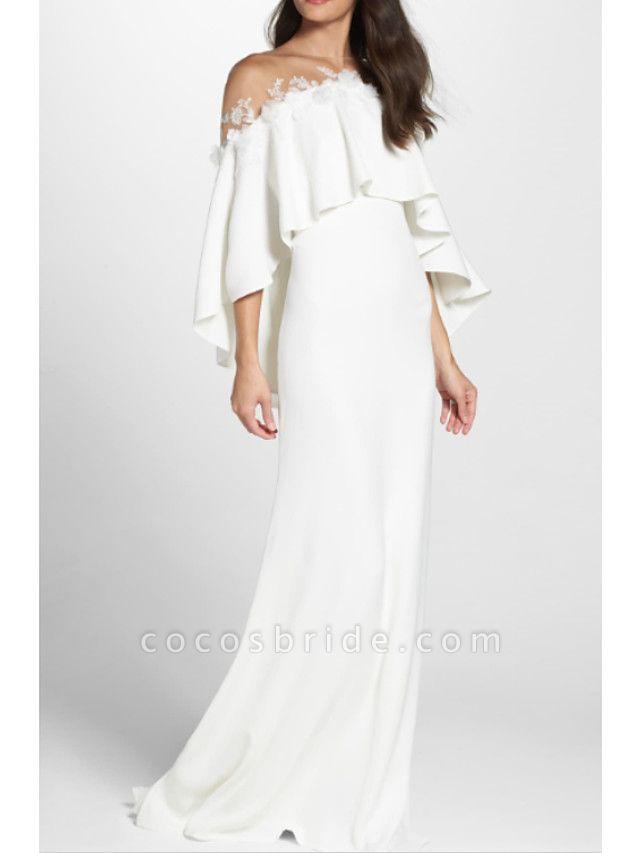 Sheath \ Column Wedding Dresses Jewel Neck Sweep \ Brush Train Jersey 3\4 Length Sleeve Simple Backless Elegant
