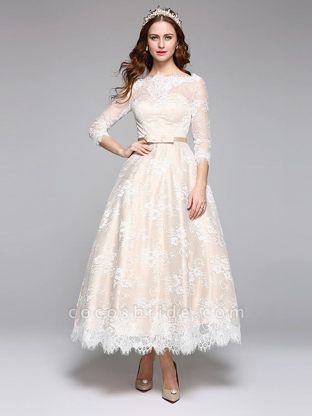 A-Line Wedding Dresses Bateau Neck Ankle Length Lace Over Satin 3\4 Length Sleeve Casual Boho See-Through Cute Illusion Sleeve