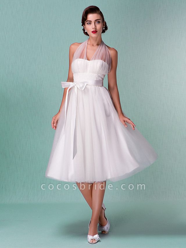 A-Line Wedding Dresses Halter Neck Knee Length Satin Tulle Regular Straps Casual Vintage Little White Dress Plus Size