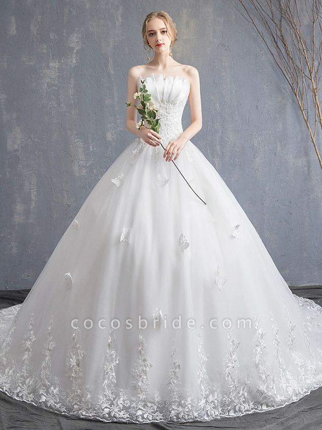 Ball Gown Wedding Dresses Strapless Chapel Train Lace Tulle Lace Over Satin Strapless Formal Vintage Illusion Detail