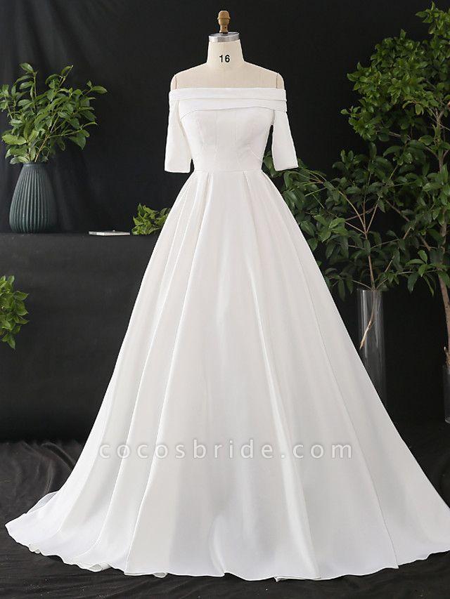 A-Line Wedding Dresses Off Shoulder Court Train Satin Half Sleeve Simple Elegant