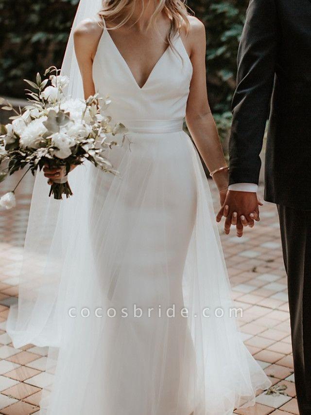 A-Line Wedding Dresses V Neck Court Train Satin Sleeveless Formal Detachable