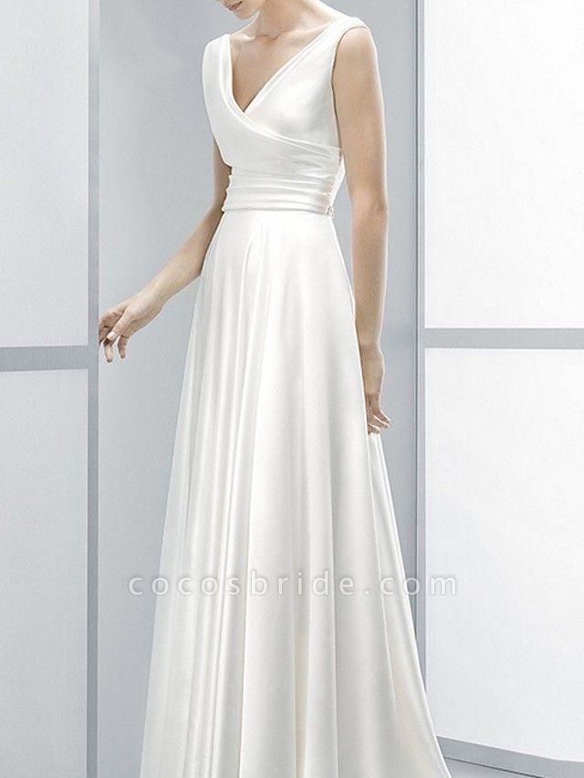 Sheath \ Column Wedding Dresses V Neck Sweep \ Brush Train Chiffon Sleeveless Beach