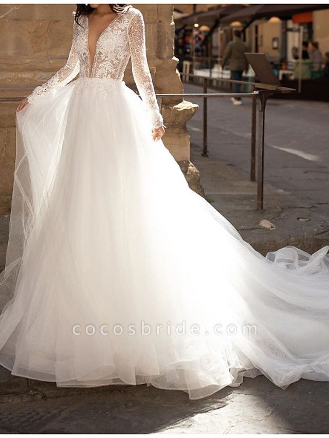A-Line Wedding Dresses Plunging Neck Court Train Lace Tulle Long Sleeve Country Plus Size