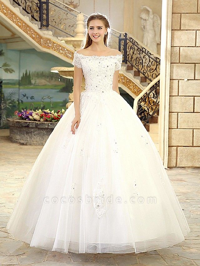 Ball Gown Wedding Dresses Off Shoulder Floor Length Lace Over Tulle Short Sleeve Casual Vintage Plus Size