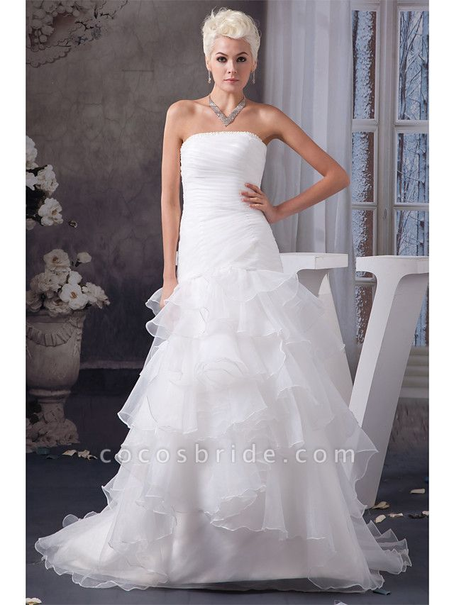 Mermaid \ Trumpet Strapless Chapel Train Organza Satin Strapless Plus Size Wedding Dresses