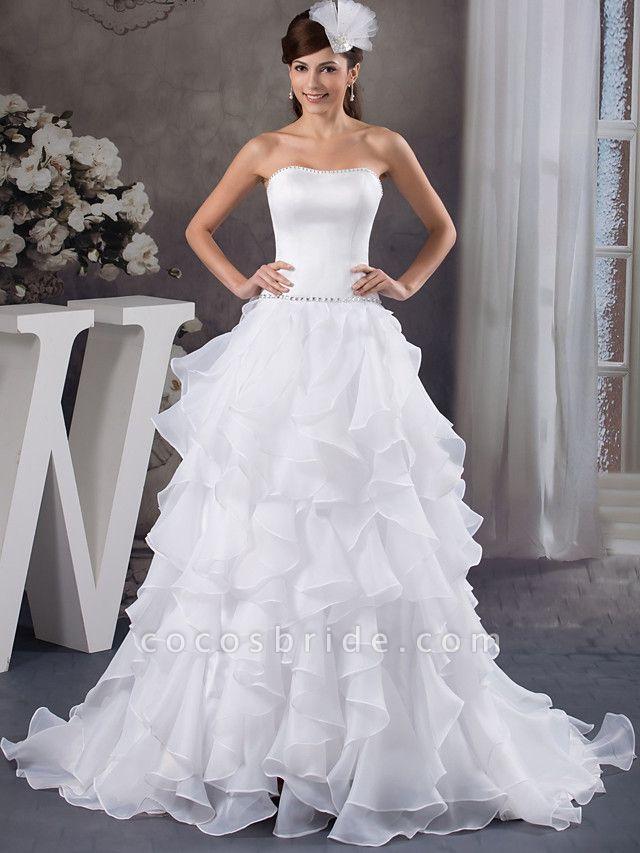 A-Line Strapless Court Train Organza Satin Strapless Wedding Dresses