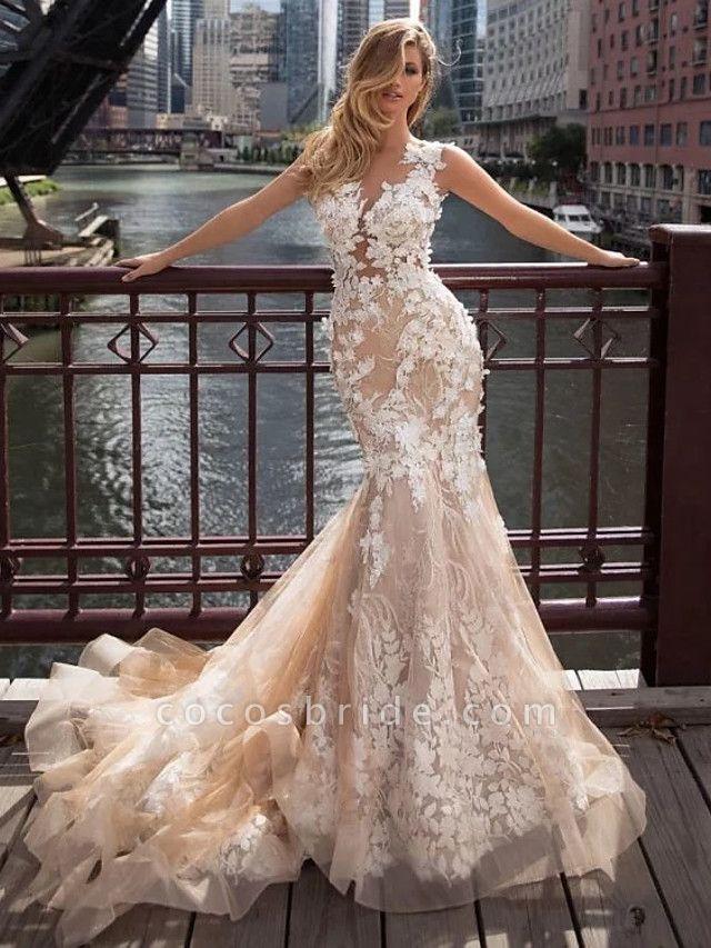 Mermaid \ Trumpet Jewel Neck Chapel Train Lace Tulle Regular Straps Illusion Detail Backless Wedding Dresses