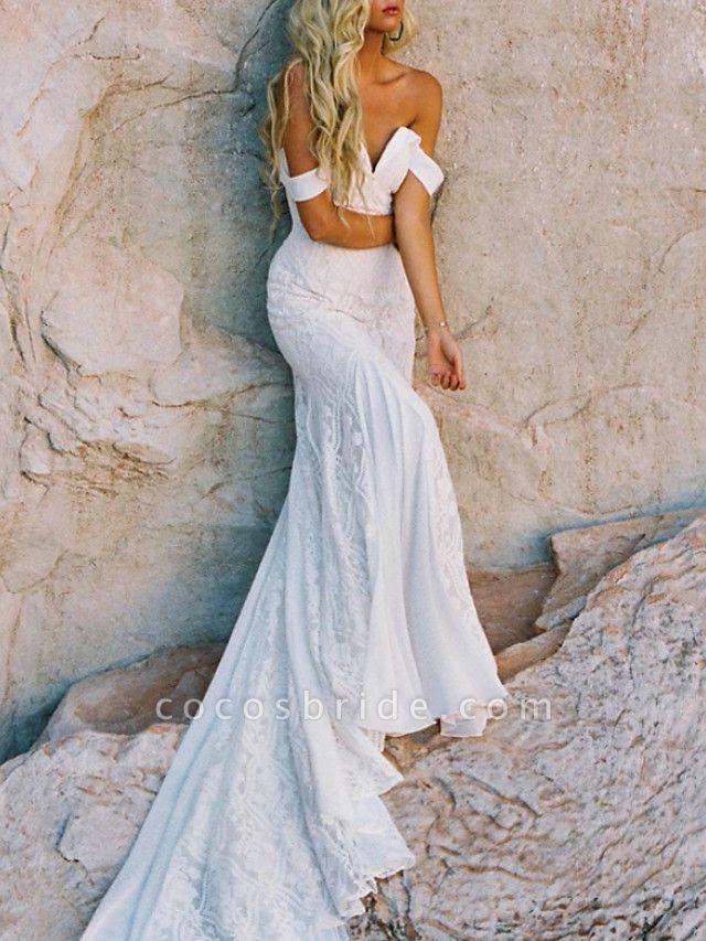 Mermaid \ Trumpet Wedding Dresses Sweetheart Neckline Sweep \ Brush Train Lace Satin Short Sleeve Vintage Sexy Backless