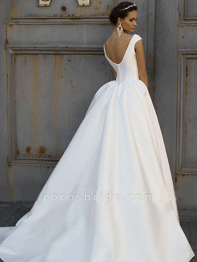 A-Line Wedding Dresses Bateau Neck Court Train Polyester Cap Sleeve