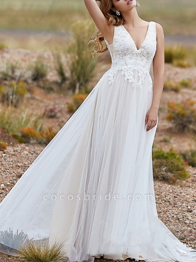 A-Line Wedding Dresses V Neck Sweep \ Brush Train Lace Tulle Sleeveless Vintage Sexy Wedding Dress in Color Backless
