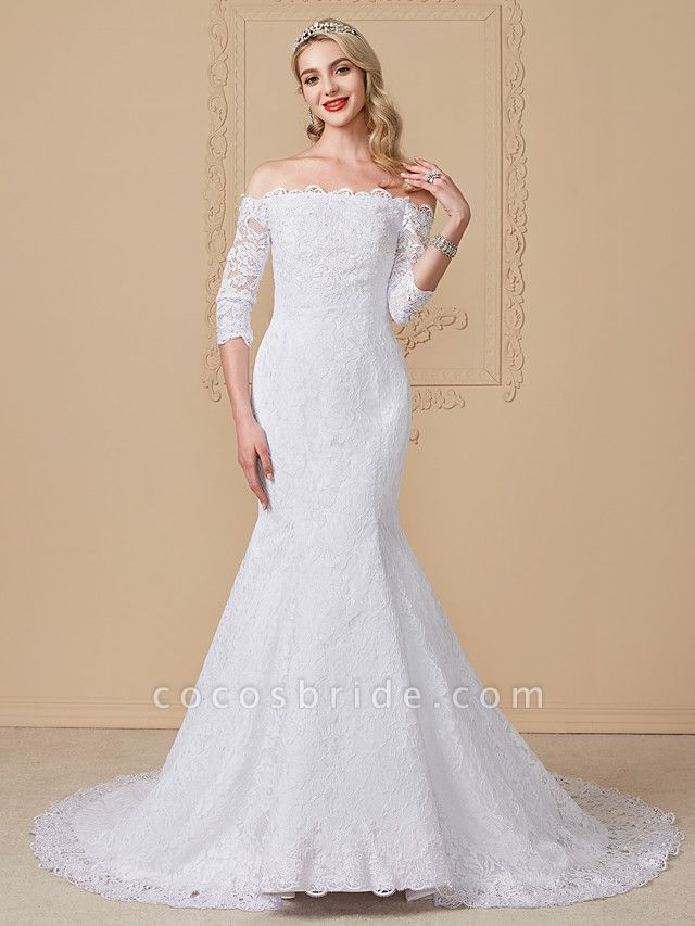 Mermaid \ Trumpet Wedding Dresses Off Shoulder Court Train Lace Sequined 3\4 Length Sleeve Romantic Plus Size Illusion Sleeve