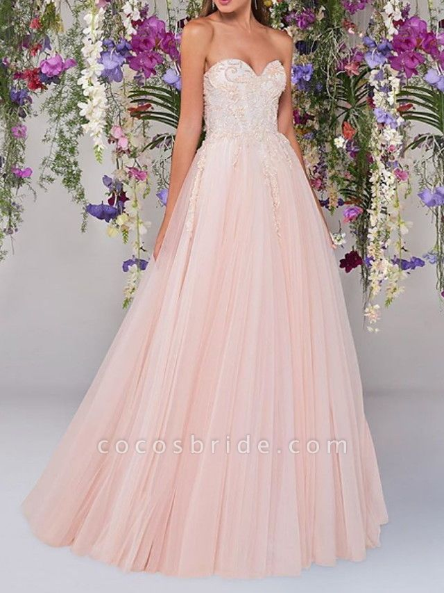 A-Line Wedding Dresses Strapless Floor Length Lace Tulle Sleeveless Country Wedding Dress in Color